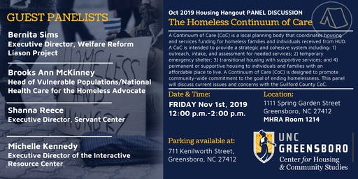 UNCG CHCS Nov Housing Hangout - The Homeless Continuum of Care
