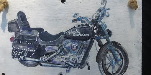 Motorcycle or Logo Slate Paint Class Bring Your Motorcycle Picture or Logo