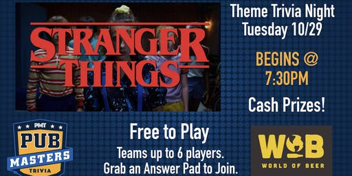 Stranger Things Themed Trivia  at World of Beer University Gainesville!