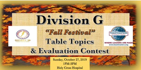 Division G Toastmasters Fall Table Topics & Evaluation Contest 2019 tickets