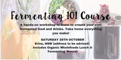 Fermenting 101 Course with organic wholefood lunch tickets
