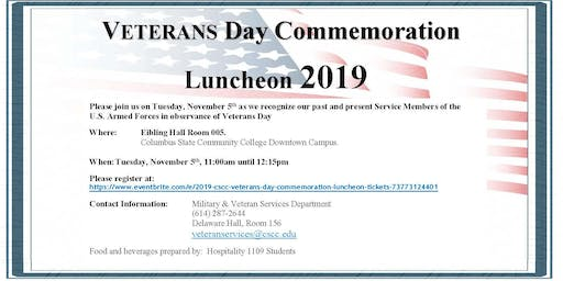 2019 CSCC Veteran's Day Commemoration Luncheon