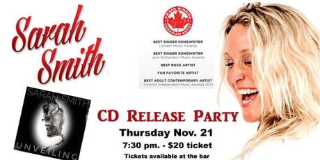 """Sarah Smith """"Unveiling"""" CD Release Party - COLLINGWOOD, ON tickets"""