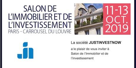 Rencontrez JustInvestNow au salon de l'immobilier à PARIS!  billets