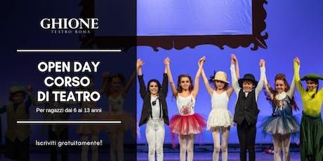 Open Day Corso di recitazione per bambini al Teatro Ghione biglietti