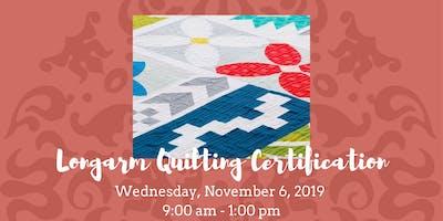 Longarm Quilting Certification • November 6, 2019