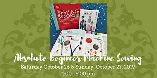 Absolute Beginner Machine Sewing - October 26, 2019