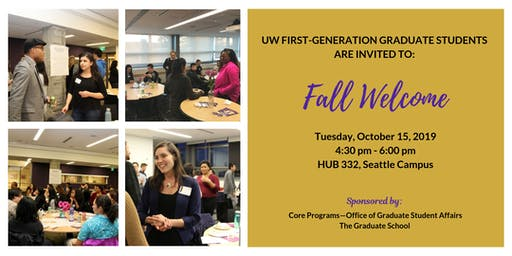 2019 Fall Welcome for UW First-Generation Graduate Students