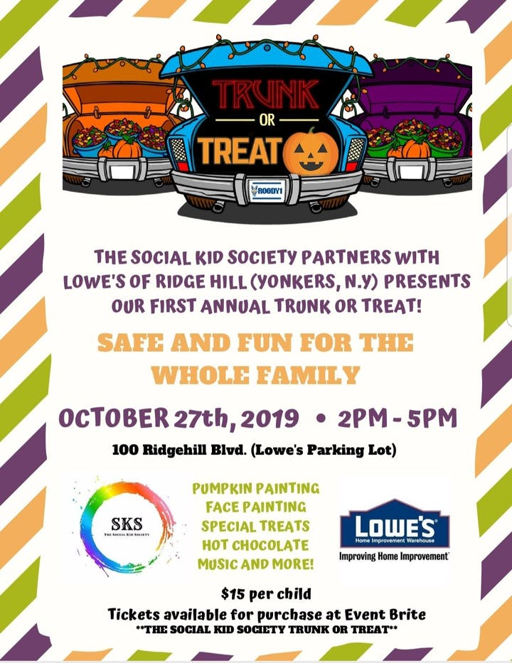 Yonkers Parking Tickets >> The Social Kid Society Trunk Or Treat Tickets Sun Oct 27