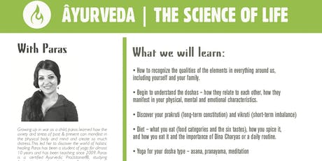 Âyurveda the science of life...  tickets