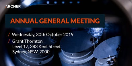 Archer Annual General Meeting 2019 tickets