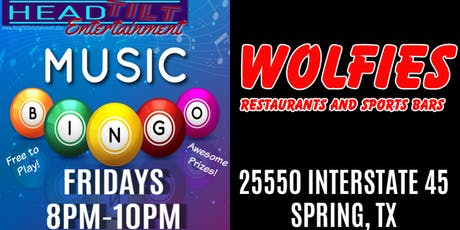 Music Bingo at Wolfies Restaurant and Sports Bar - Spring, TX tickets