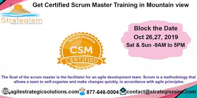 Certified Scrum Master (CSM) Training in Mountain View-Oct 26,27-2019