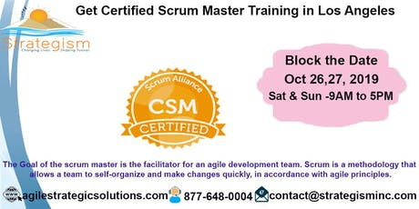 Certified Scrum Master (CSM) Training in Los Angeles-Oct 26,27-2019 tickets