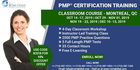 PMP® Certification Training Course in Montreal, QC, Canada | 4-Day PMP® Boot Camp with PMI® Membership and PMP Exam Fees Included. tickets