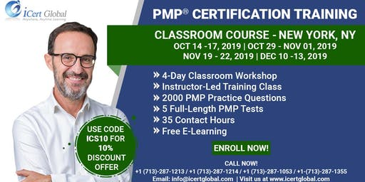 PMP® Certification Training Course in New York, NY, USA   4-Day PMP® Boot Camp with PMI® Membership and PMP Exam Fees Included.