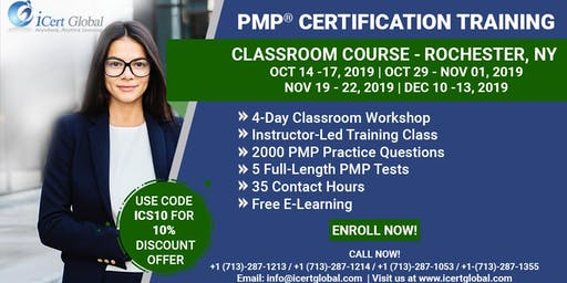 PMP® Certification Training Course in Rochester, NY, USA   4-Day PMP® Boot Camp with PMI® Membership and PMP Exam Fees Included.