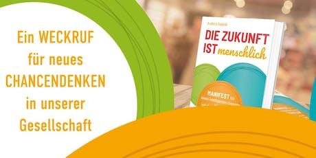 """Lesung im digitalHUB mit Andera Gadeib: """"Die Zukunft ist menschlich"""" Tickets"""