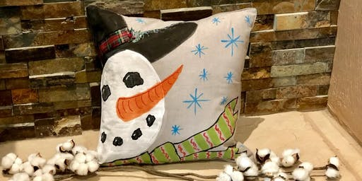 Snowman Pillow Case Painting Party