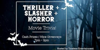 Thriller + Slasher + Horror = A Halloween Movie Trivia Night!
