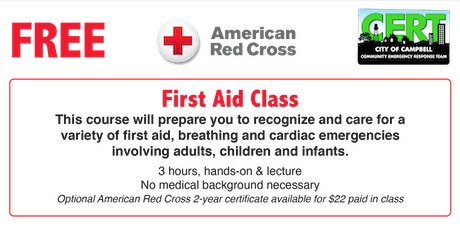 Red Cross Basic First Aid (no CPR) tickets