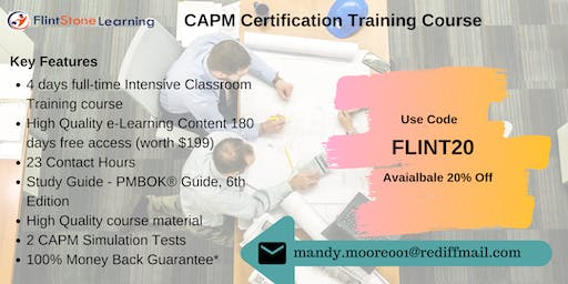 CAPM Bootcamp Training in Applegate, CA