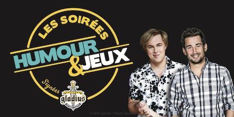 Soirée Humour et Jeux à Québec.  Avec Jean-François Baril et Alex Perron billets