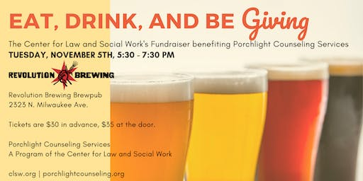 Eat, Drink, and be Giving! A Fundraiser for Porchlight Counseling Services