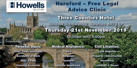 Howells Free Legal Advice Clinic - Personal Injury & Medical Negligence tickets