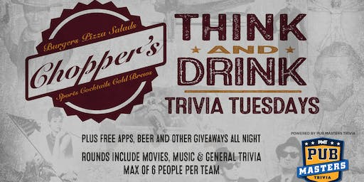 Pub Masters Trivia LIVE at Chopper's Sports Grill - Denver!