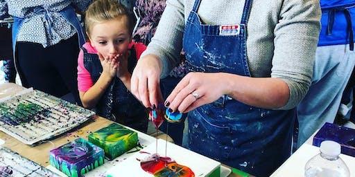 Parent & Child Liquid Glass; A Pouring Medium Workshop - Farm