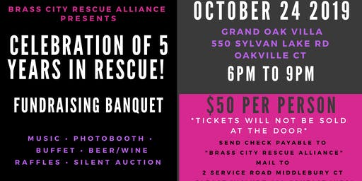 Brass City Rescue Alliance Celebration and Banquet Fundraiser!
