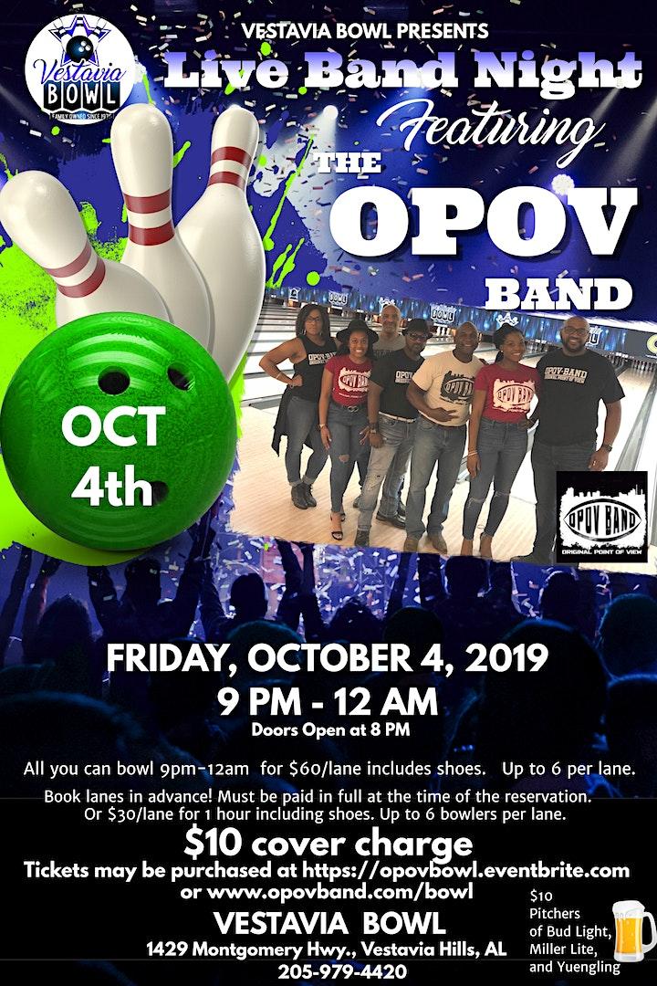 Live Band Night featuring OPOV Band at Vestavia Bowl image