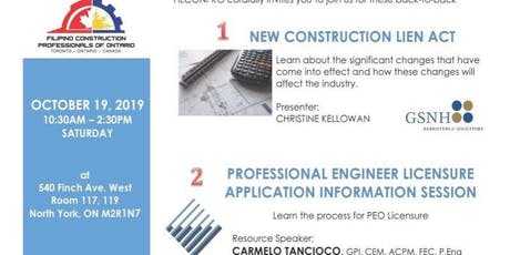 NEW CONSTRUCTION LIEN ACT & PROFESSIONAL ENGINEER LICENSURE APPLICATION INFORMATION SESSION tickets