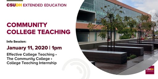 Community College Teaching Certificate Info Session | CSUDH