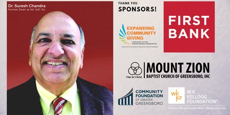An ECG Community Conversation with Dr. Suresh Chandra, Why I Believe in Greensboro and the Community Foundation tickets