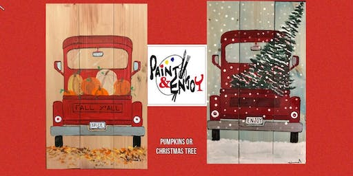 "Paint and Enjoy at Delta Pizza ""Red Truck  "" on wood"