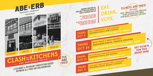 Clash of the Kitchens - Oct 24 @ Abe Erb Guelph