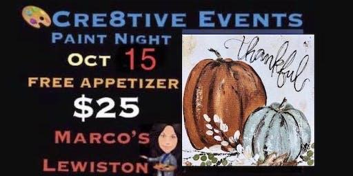 $25 Paint Night FREE APPETIZER @ Marcos Lewiston- Sue