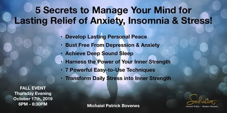5 Secrets for Lasting Relief of Stress, Anxiety & Insomnia tickets