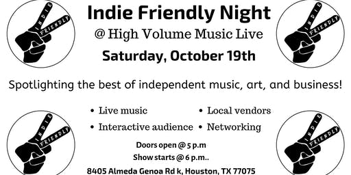Indie Friendly Night October 19th