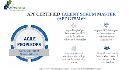 Agile PeopleOps Framework Certified Talent Scrum Master (APF CTSM)™| Apr 4 - 5, 2020 tickets