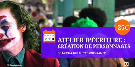 Atelier d'écriture : création de personnages au Comics Corner (spécial Joker) billets