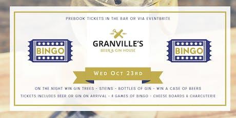 GRANVILLES - MONTHLY BINGO! (GINGO!) 23rd Oct tickets