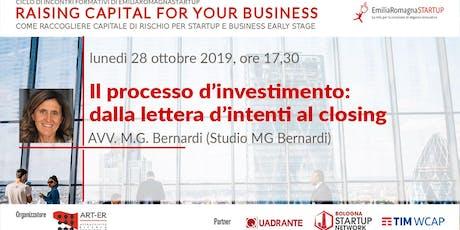 Raising Capital for your Business Chap III: Il processo d'investimento: dalla lettera d'intenti al closing. biglietti