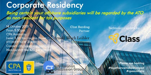 CTDG October 2019 Event - Corporate Residency in Australia for tax purpose
