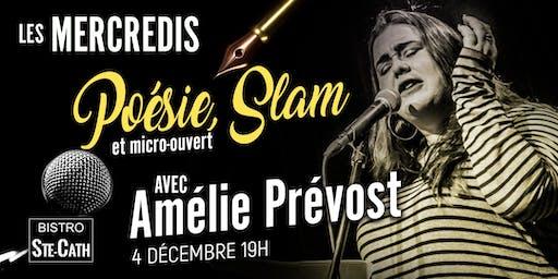 Poésie, Slam et micro ouvert avec Amélie Prévost