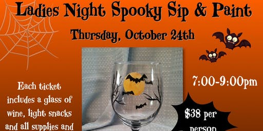 Ladies Night Sip and Paint a Batty Wine Glass!