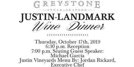 Justin-Landmark Wine Dinner tickets