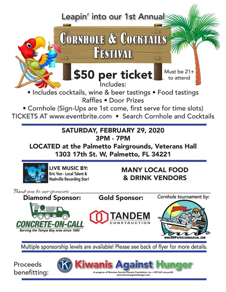Manatee County Fair Dates 2020.Cornhole And Cocktails Festival Tickets Sat Feb 29 2020